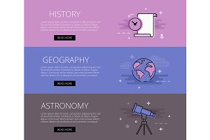 History Geography Astronomy banners