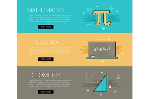 Math. Algebra. Geometry banner set