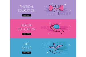 Physical Education banner set