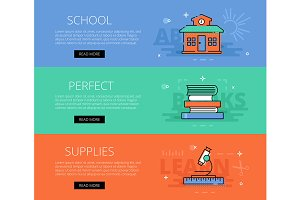 School Perfect Supplies banner set