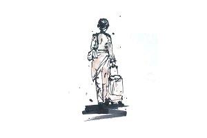 Sketch of Woman with bag/Stewardess