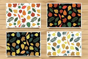 4 seamless autumn patterns