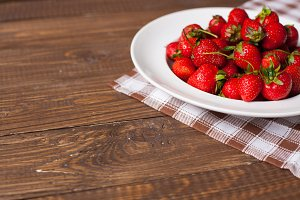 strawberry on the wooden table