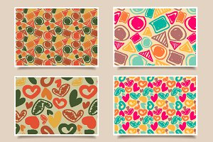 4 seamless vintage patterns