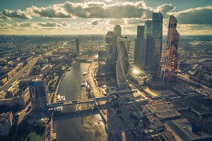 Aerial view of Moscow downtown
