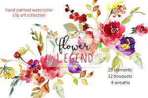 Watercolor Red Peony Flowers Clipart