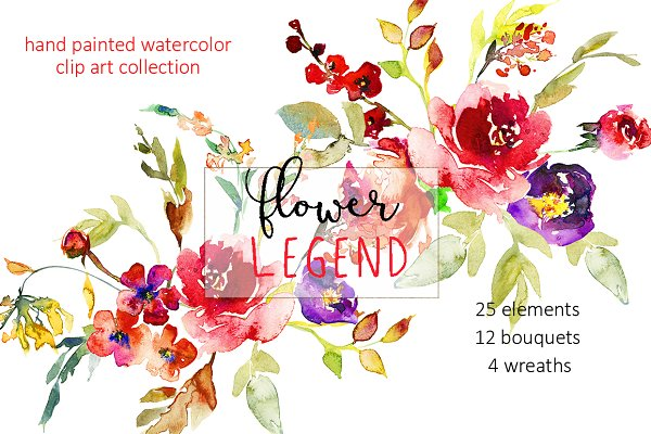 Watercolor Red Peony Flowers Clipar…