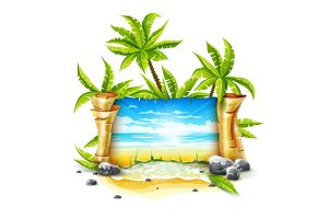 Travel banner with paper script and tropical island