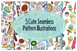 5 Cute Seamless Pattern Illustration