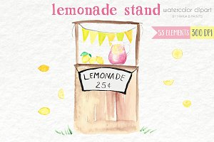 Watercolor Clip Art - Lemonade Stand