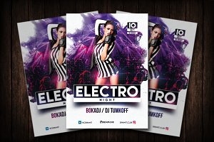Electro Night Party Flyer Template