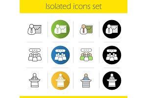 Business people. 12 icons. Vector