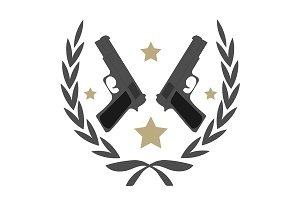 2 pistols and stars. Vector