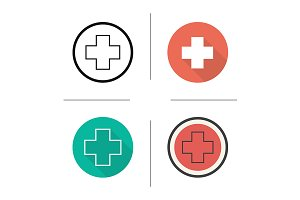 Medical cross. 4 icons. Vector