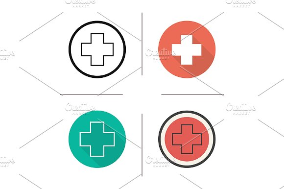 Medical cross. 4 icons. Vector - Icons