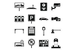 Car parking icons set, simple style