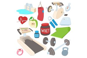 Fitness icons set, cartoon style