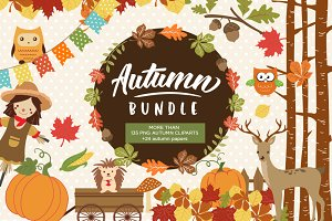 Autumn Clipart Bundle - 138 cliparts