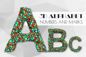 3D Dots 2 alphabet numbers and marks