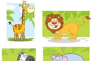 Smiling Jungle Animals Collection