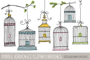 Doodle Birdcages Clipart & Brushes