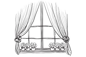 Windows sketch with curtains
