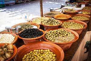 Local food on street market in Spain