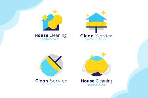 House Cleaning Logos Set