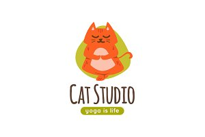 Cat Studio. Yoga Logo.
