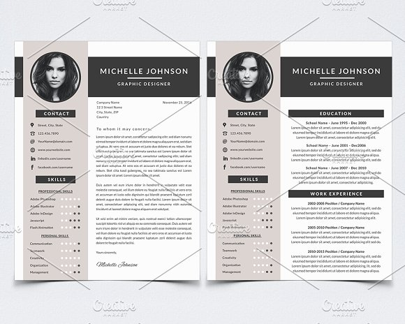 resume template for photoshop resume templates on creative market. Black Bedroom Furniture Sets. Home Design Ideas
