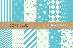 Blue Floral Digital Paper