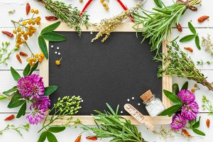 Blackboard and healing herbs