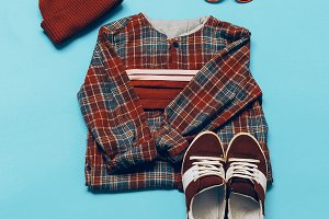 Urban hipster set. Sneakers and Cap