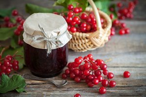 Jar of Red Viburnum jam