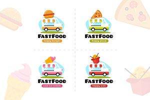 Food Truck Logos Set