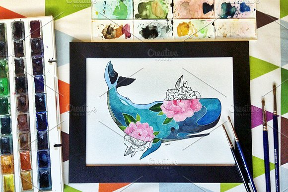 I whale always love U...(watercolor) - Illustrations