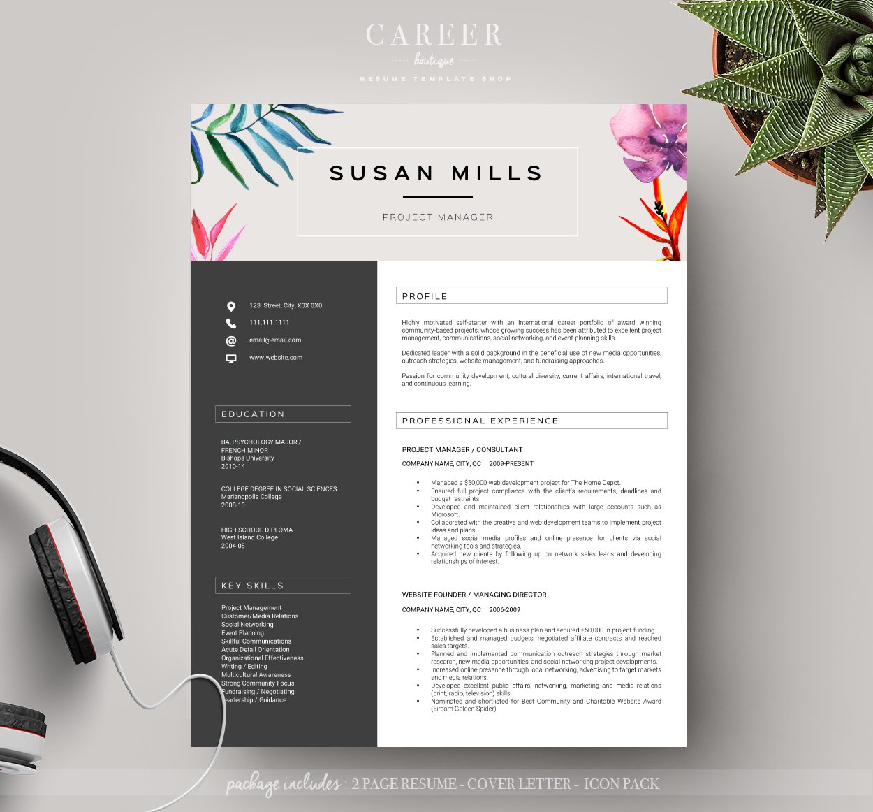 modern resume coverletter template resume templates creative market - Modern Cover Letter Template