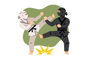 Fight Black and White Ninja