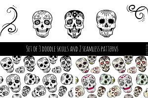 Set of 3 skulls and 2 patterns