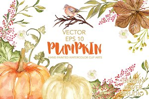 Vector Watercolor Pumpkin clip arts
