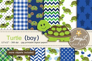 Turtle Boy Digital papers & Clipart