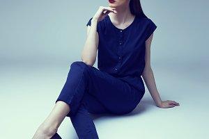 young elegant woman in studio