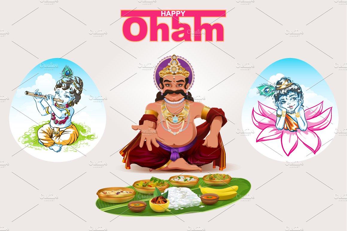 Happy Onam Festival In Kerala Illustrations Creative Market