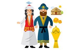 Kazakh Family. Kazakhstan