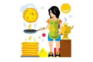 Woman bakes pancakes