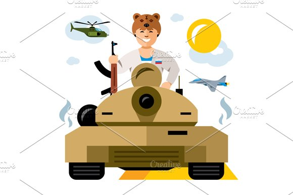 Tankman. Russian military Army. - Illustrations