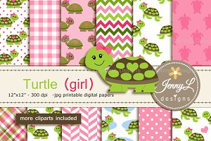 Turtle Girl Digital Paper & clipart