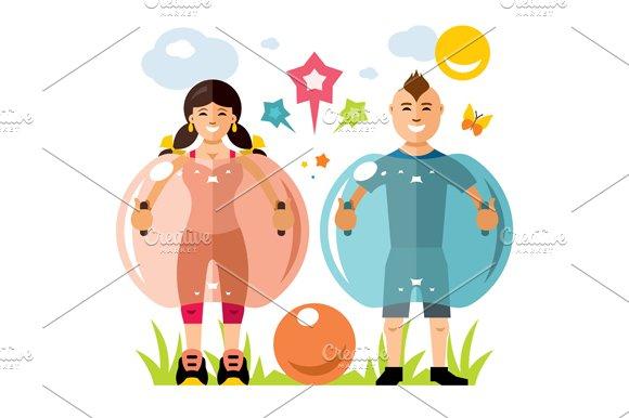 Zorbing soccer. Bumper Ball  - Illustrations