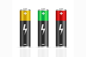 Realistic Colorful Battery Set.