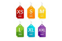 Size Clothing Labels Set. Vector